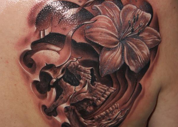 Celine tatouage fleur tete de mort tatouage - Tatouage pensee fleur ...
