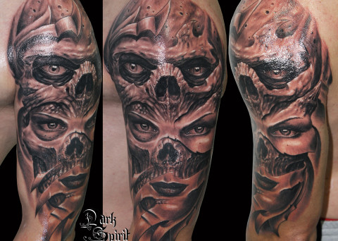 Dark archives dark spirit tattoo - Tatouage tete de mort avant bras ...