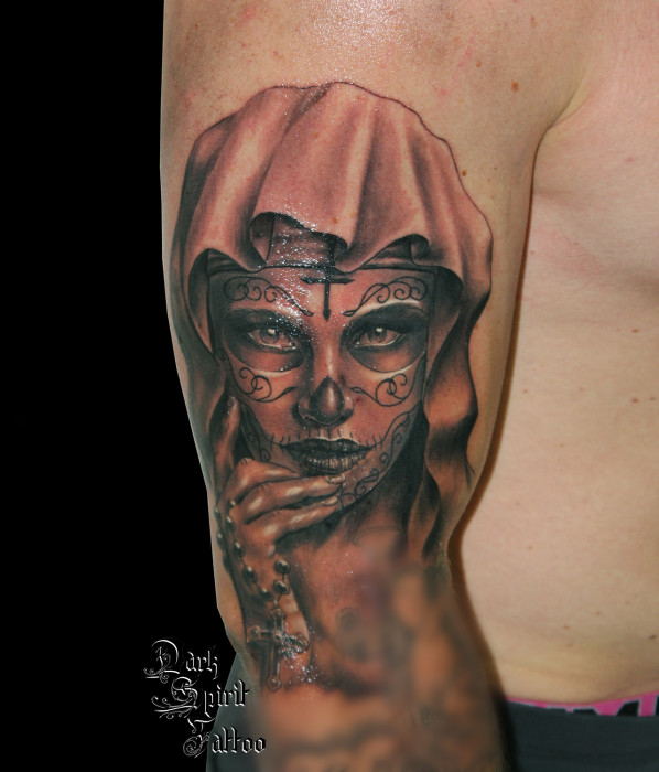 Tatoueur Perpignan Tatouage Catrina Santa Muerte Calavera Dia De Los