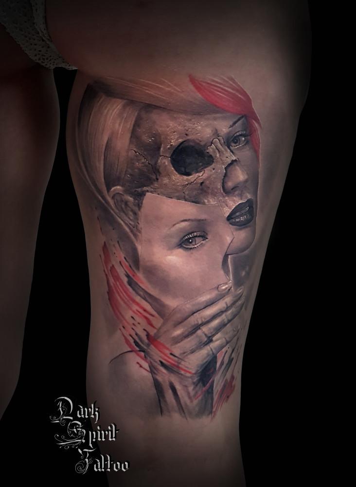 Tatouage Visage Realiste Femme Masque Crane Tete De Mort Trash
