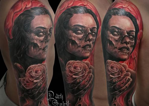 Tatouage tte de mort femme modele tatouage bras fleur de - Tatouage la mort ...